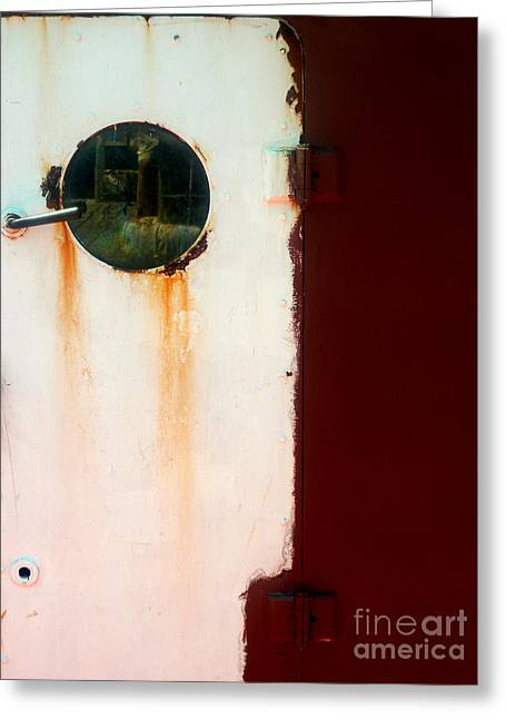 Greeting Card featuring the photograph Door With Porthole by Robert Riordan