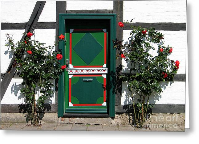 Greeting Card featuring the photograph Door With Roses by Art Photography