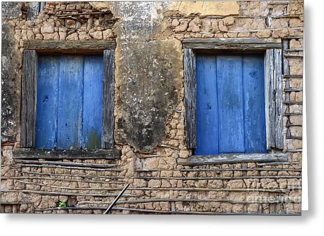 Doors And Windows Minas Gerais State Brazil 1 Greeting Card by Bob Christopher