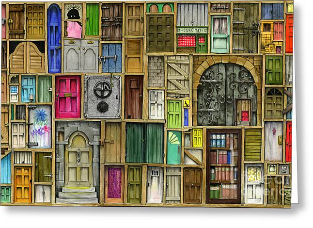Doors Closed Greeting Card by Colin Thompson