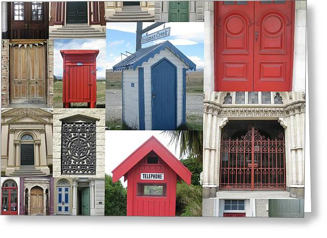 doors in New Zealand Greeting Card by Cathy Jacobs