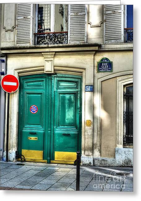 Doors Of Rue Cler Greeting Card