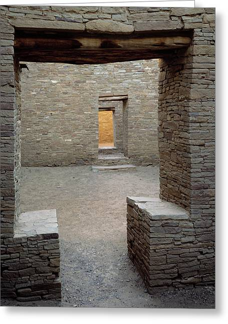 Doorway In Pueblo Bonito, Chaco Canyon Greeting Card by Greg Probst