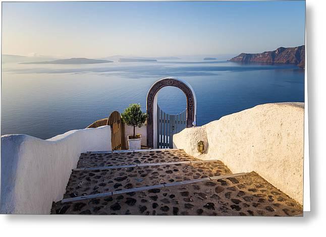 Doorway In Santorini Greeting Card
