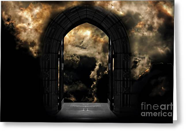 Doorway To Heaven Or Hell Greeting Card by Ken Biggs