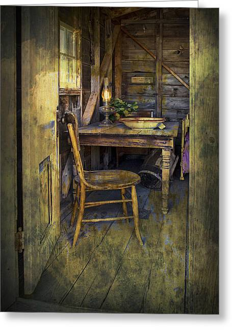 Doorway With Chair And Table Setting With Oil Lamp Greeting Card