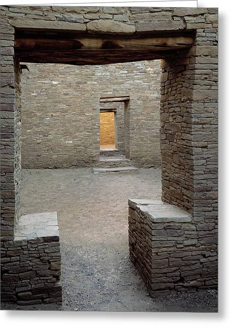 Doorways In Pueblo Bonito Ruin At Chaco Greeting Card by Panoramic Images