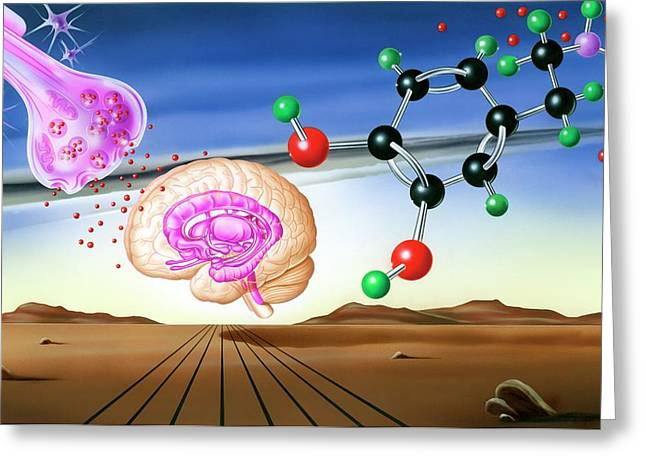 Dopamine Brain Chemistry Greeting Card by John Bavosi