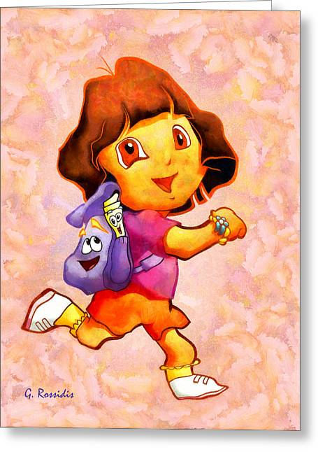 Dora The Explorer Greeting Card by George Rossidis