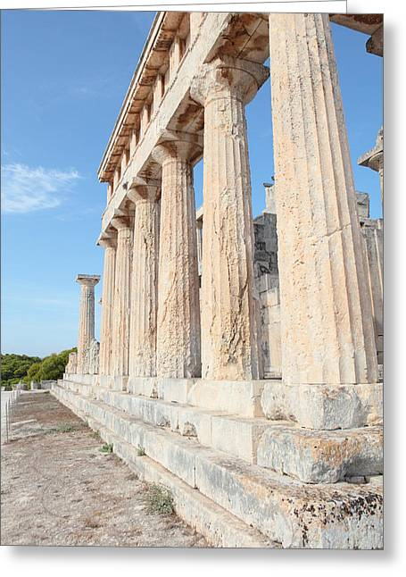 Doric Columns At Temple Of Aphaia Greeting Card by Paul Cowan