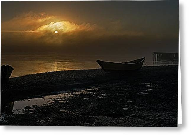 Greeting Card featuring the photograph Dories Beached In Lifting Fog by Marty Saccone