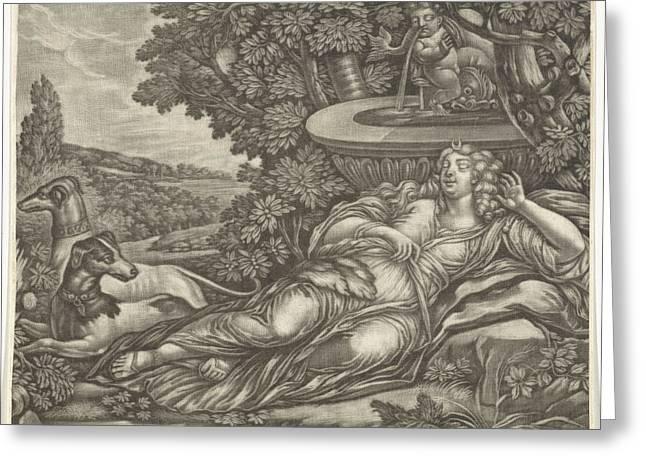 Dormant Diana, Possibly Jan Van Somer Greeting Card by Possibly Jan Van Somer