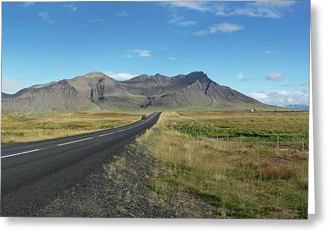 Dormant Volcano And Road Greeting Card