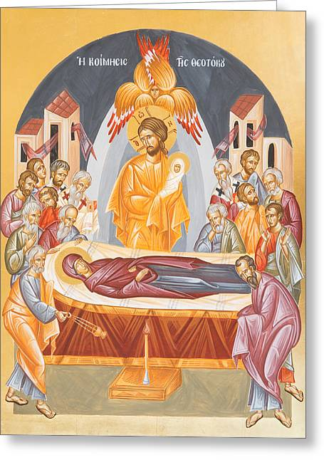 Dormition Of The Theotokos Greeting Card by Julia Bridget Hayes