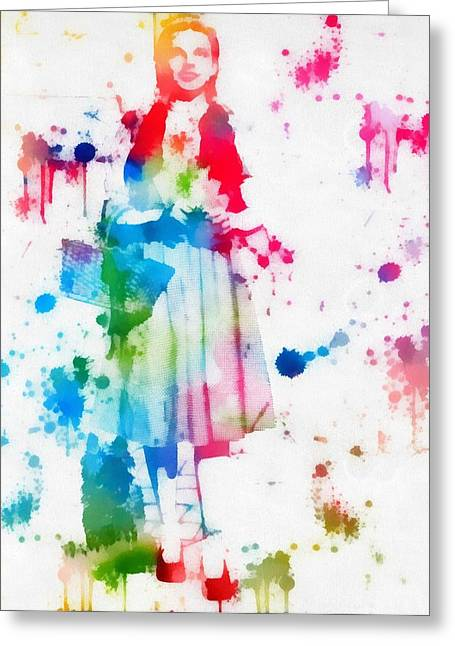 Dorothy Wizard Of Oz Paint Splatter Greeting Card by Dan Sproul