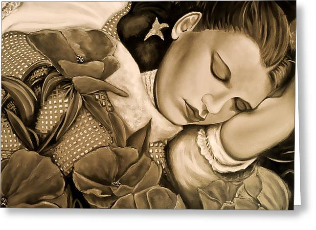 Dorothy's Sleep Sepia Greeting Card by Cindy Anderson