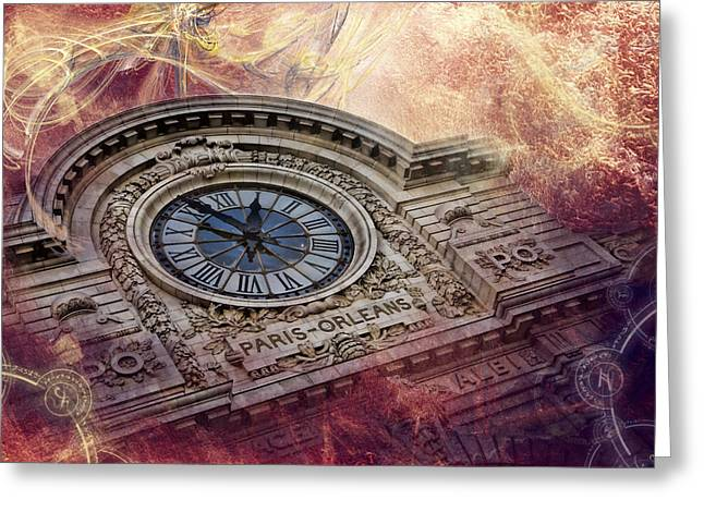 D'orsay Clock Paris Greeting Card by Evie Carrier