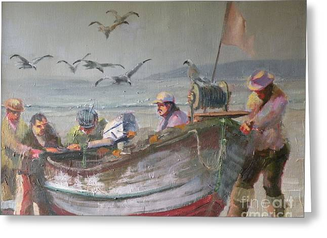 Dory Fishermen Greeting Card by Ray Mitchell