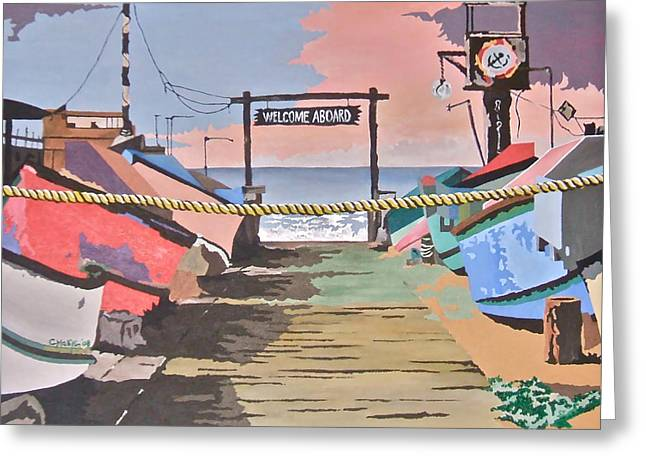 Dory Fishing Fleet -newport Beach Greeting Card