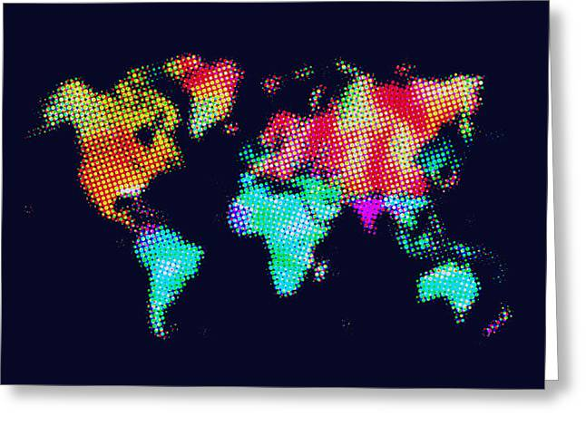 Dotted World Map 3 Greeting Card by Naxart Studio