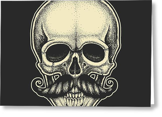 Dotwork Styled Skull With Moustache Greeting Card