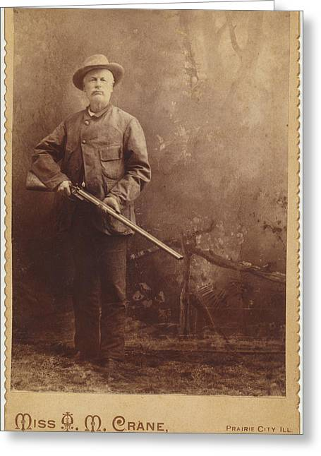 Greeting Card featuring the photograph Double Barrel Shotgun Hunter by Paul Ashby Antique Image