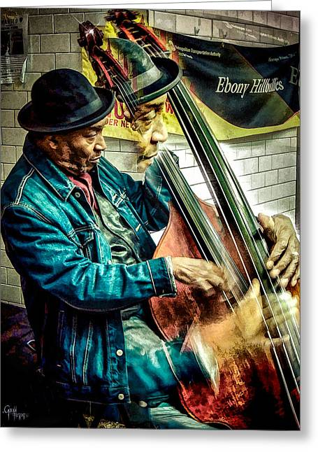 Double Bass. Man Greeting Card