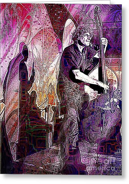 Double Bass Silhouette  Greeting Card
