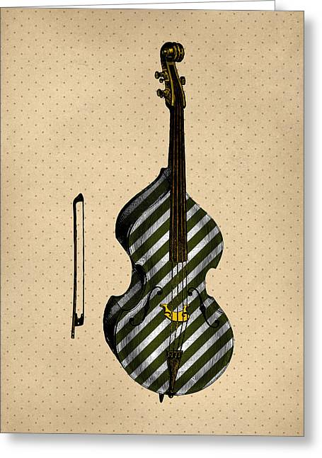 Double Bass Vintage Illustration Greeting Card by Flo Karp