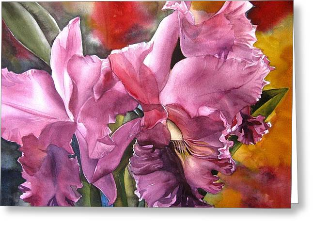 Double Cattleya Orchid Greeting Card
