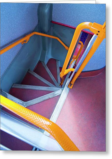 Double-decker Bus Stairs. Greeting Card by Mark Williamson