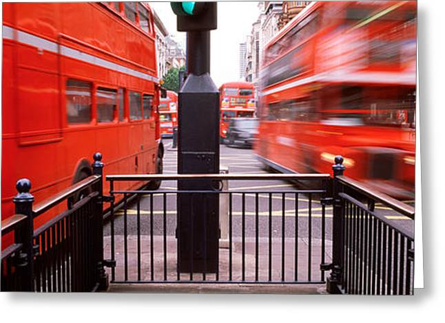 Double-decker Buses On The Road, Oxford Greeting Card by Panoramic Images