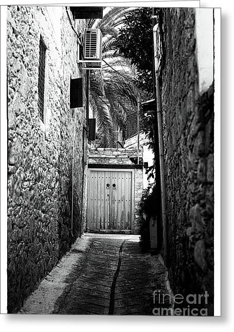 Double Doors In The Alley Greeting Card by John Rizzuto