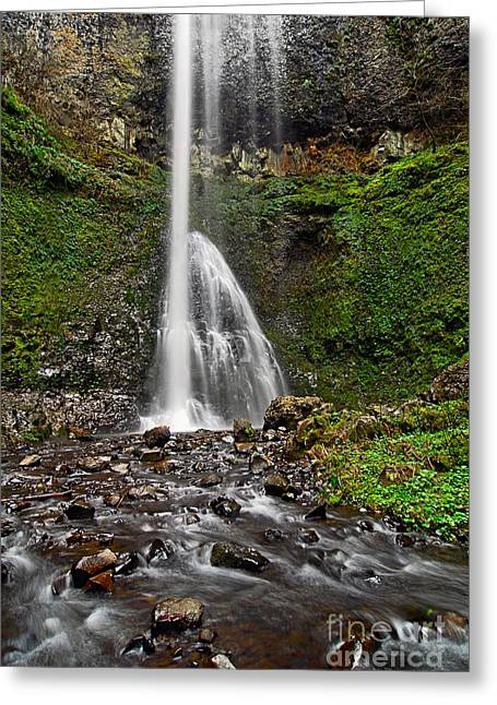 Double Falls In Silver Falls State Park In Oregon Greeting Card