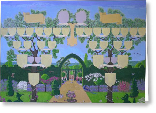Double Family Tree Chart English Garden  Greeting Card by Alix Mordant
