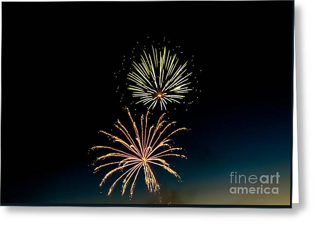 Double Fireworks Blast Greeting Card by Robert Bales