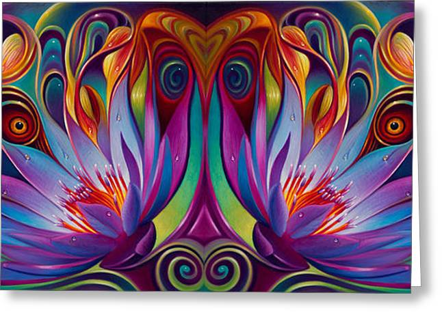 Double Floral Fantasy Greeting Card by Ricardo Chavez-Mendez