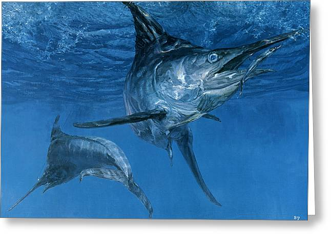 Double Header Makaira Nigricans, Blue Greeting Card by Stanley Meltzoff / Silverfish Press