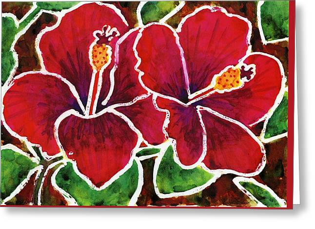 Double Hibiscus Greeting Card