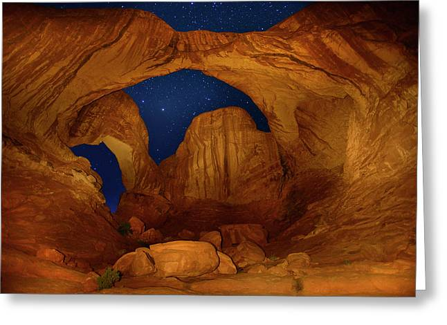 Double O Arch At Night Greeting Card