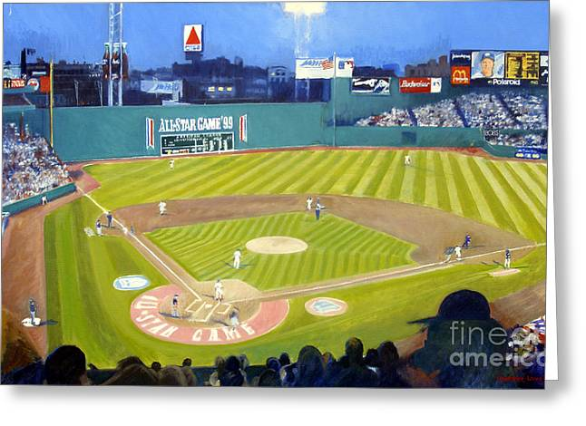 Double Play In Fenway Greeting Card by Candace Lovely