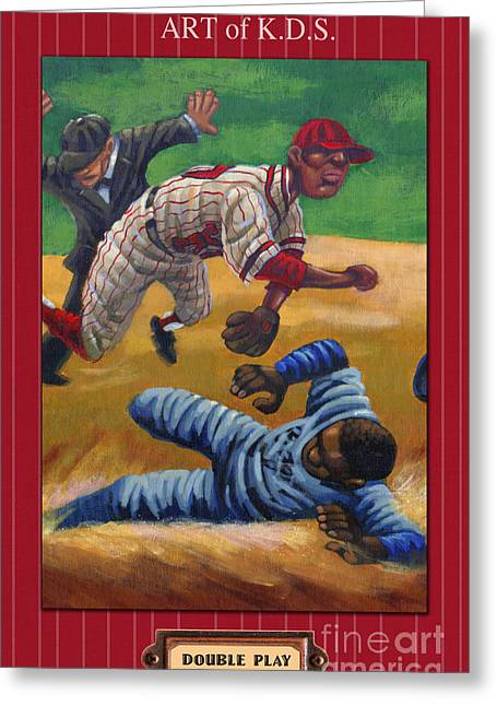 Double Play Greeting Card by Keith Shepherd
