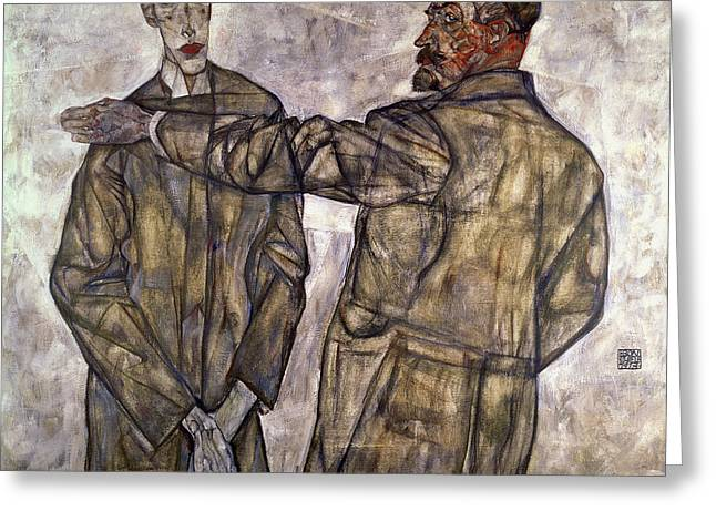 Double Portrait Of Otto And Heinrich Benesch Greeting Card by Egon Schiele