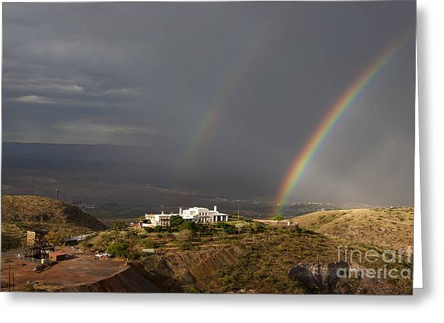 Double Rainbow And Jerome State Park Greeting Card