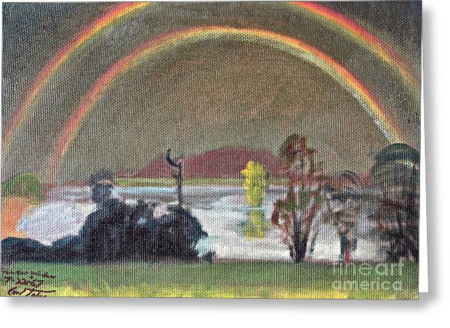 Double Rainbow Greeting Card by Art By Tolpo Collection