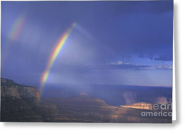 Double Rainbow At Cape Royal Grand Canyon National Park Greeting Card