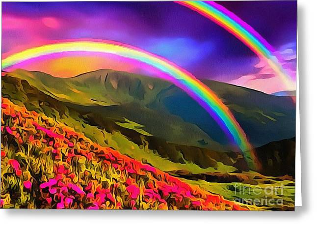 Double Rainbow Greeting Card by Catherine Lott