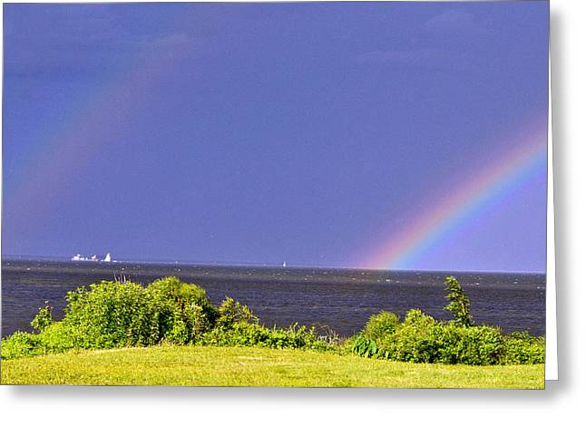 Double Rainbow   Greeting Card by Davids Digits