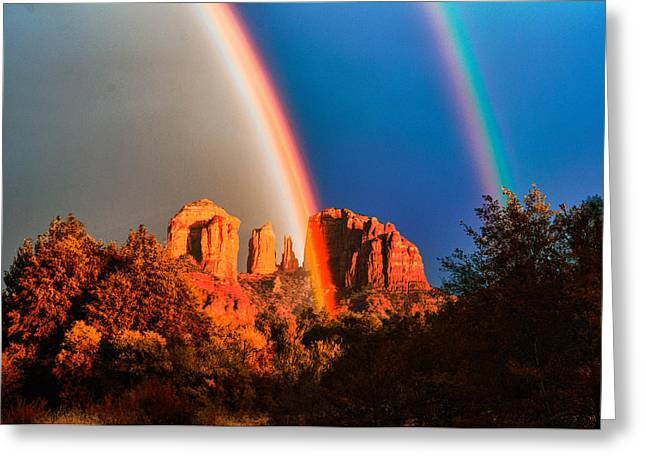 Double Rainbow On Cathedral Rock Greeting Card