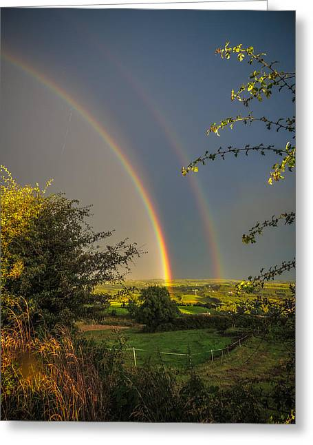 Double Rainbow Over County Clare Greeting Card